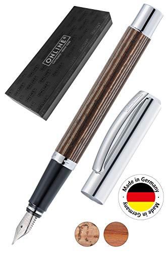 ONLINE Füller Vision African Maroon, Füllfederhalter aus Aluminium mit Holzveredelung, Iridiumfeder M, für Standard-Tintenpatronen und Konverter geeignet, in Geschenkverpackung