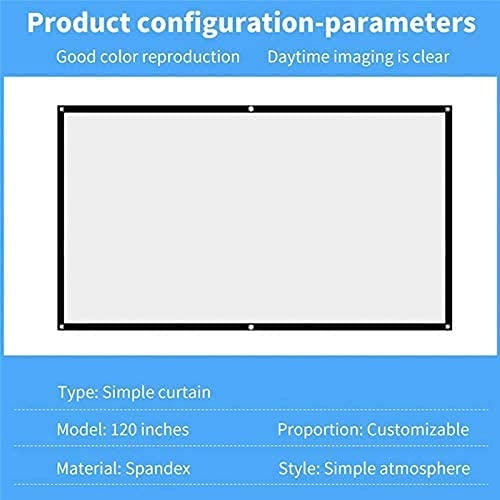 HGSDKECFS Portable Projection Screen Led Projector Screen Portable 16:9 Polyester Outdoor Movie Screen for Travel Home Theater DLP(Size:100 inch)