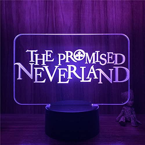 Lámpara De Ilusión 3D Luz De Noche Led Prometido Neverland Logo Sign Figura 7 Colores Lámpara De Mesa Táctil Fiesta De Niños Regalo De Cumpleaños Decoración De Dormitorio De Navidad