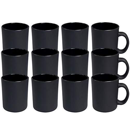 Werbewas satinierte Kaffeebecher, schwarz/matt, 12er Set - Glas Kaffeetassen ohne Druck - Elegante Milch-Glas Becher für Büro und Haushalt, 300ml Tasse/Pott für Kaffee, Tee und mehr - B Ware