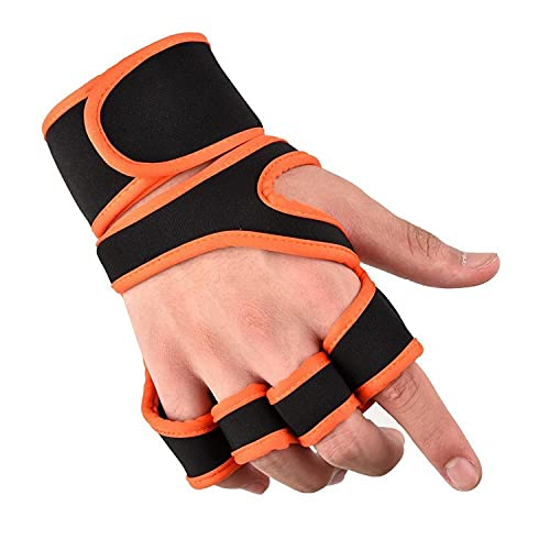 Fitnesshandschuhe Handballenschutz Gym Hantelausrüstung Gewichtheben Übung Kompressionsverlängerung Armband Trainingshandschuhe-Gewichtheben Orange_XL Reithandschuhe