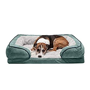 Furhaven Pet Dog Bed – Orthopedic Plush Velvet Waves Perfect Comfort Traditional Sofa-Style Living Room Couch Pet Bed with Removable Cover for Dogs and Cats, Celadon Green, Large
