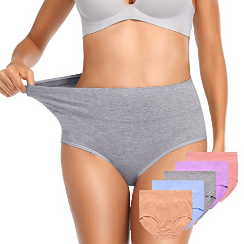 OUENZ Women's Cotton Underwear,Breathable Solid Comfortable High Waist Soft Briefs Panties for Women