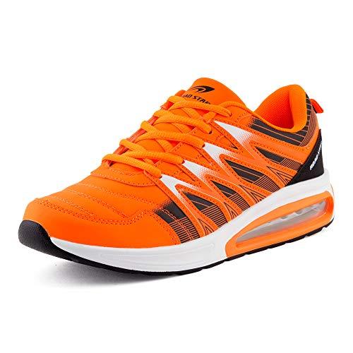 Fusskleidung Herren Damen Sportschuhe Sneaker Dämpfung Laufschuhe Übergröße Neon Jogging Gym Unisex Orange Schwarz EU 43