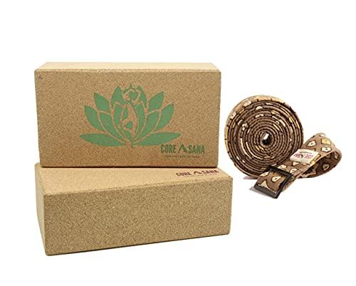 Bloques de corcho para yoga, paquete de 2 con correa   Bloque de yoga ligero de corcho y correa   Soporte de ladrillo y cinturón de yoga para pilates, meditación (loto verde)