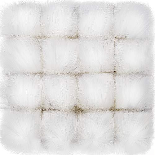 16 Stücke Kunstpelz Pom Pom Ball DIY Pelz Pom Poms für Hüte Schuhe Schals Tasche Pompons Keychain Charms Stricken Hut Zubehör, Weiß