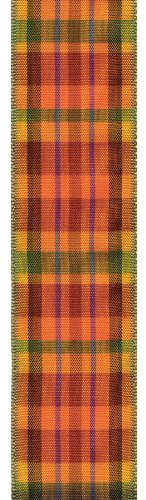 Offray Wired Edge Fall Plaid Craft Ribbon, 3.8cm Wide by 15-Yard Spool, Harvest