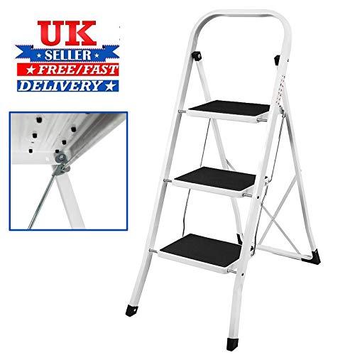 3 Stap Ladder Staal Anti Slip Voeten Mat Opvouwbaar Gemakkelijk op te slaan voor Thuis Keuken Garage 330lb Max Capaciteit