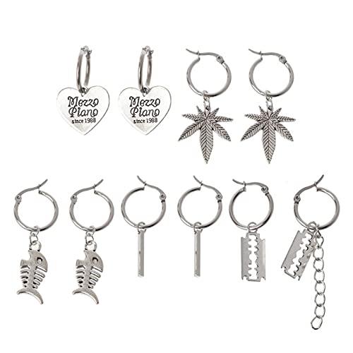 SHAOKAO Punk Silver Moon Cross - Juego de pendientes de seguridad con diseño de gota de plata
