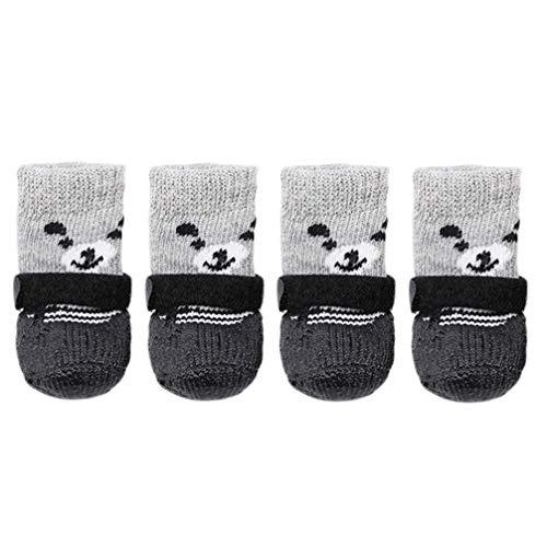 Ogquaton 4-teiliges Set S Größe Baumwolle Silikon Haustier Hund Schuhe Wasserdicht Rutschfest Hund Regen Schnee Stiefel Socken Schuhe für Welpen Kleine Katzen Hunde Kreativ und Nützlich