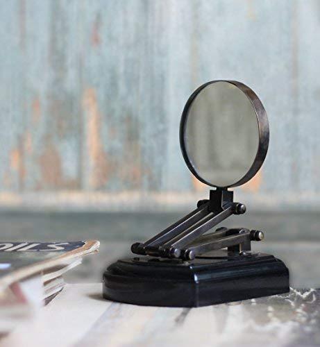 PIRU Lupa artesanal para el día de San Valentín, color negro, 3X, con zoom de lectura, antigua, con soporte extensible para escritorio de cristal y accesorio de buro