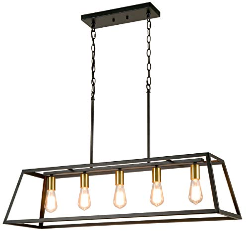 5-Light Kitchen Island Pendant Lighting, Industrial Island Chandelier with Metal Adjustable Chain for Dinning Room Kitchen