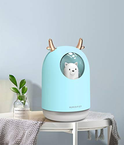 HOPEME Cool Mist Humidifier with Adjustable Mist Mode, 300ml Water Tank Lasts Up to 10 Hours, 7 Color LED Lights Changing, Waterless Auto Shut-Off for Bedroom, Home, Office (Sky Blue)