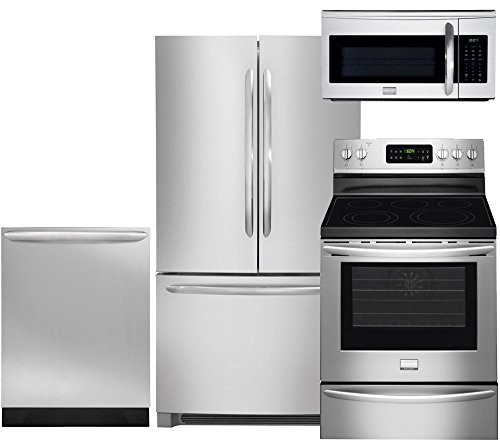 """Frigidaire 4-Piece Smudge-Proof Stainless Steel Set, FGHN2866PF 36"""" French Door Refrigerator, FGEF3035RF 30"""" Electric Range, FGID2466QF Fully Integrated Dishwasher, FGMV175QF Over the Range Microwave"""