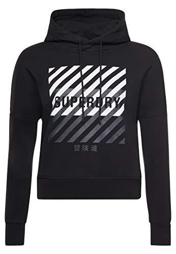 Superdry Damen Training Core Sport Crop Hood Sweatshirt Gr. 40, Schwarz
