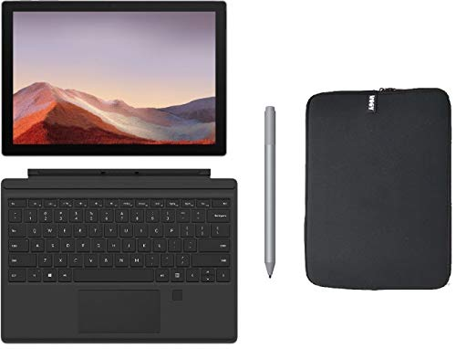 "Microsoft Surface Pro 7 12.3"" (2736x1824) 10-Point Touch Display Tablet PC + Type Cover w/Fingerprint ID + Pen (Silver) + Woov Sleeve Bundle, Intel 10th Gen Core i3, 4GB RAM, 128GB SSD, Windows 10"