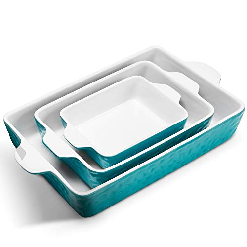 IPOW 3-Piece Ceramic Baking Dish, Value Three Pack Thick Porcelain Rectangular Oven to Table Bakeware Cookware Set Casserole Dishes Lasagna Pans for Cooking & Serving, Dishwasher Safe, Turquoise