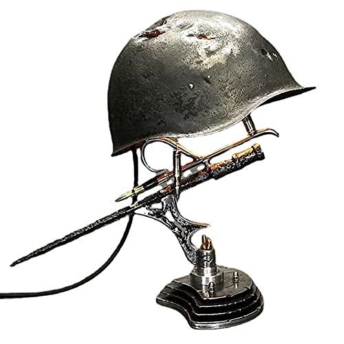 HLONGG Lámpara de reliquia de Guerra: recordando Que la lámpara de Historia de la Historia Hecha de Cascos, bayonetas y Balas, entusiastas Militares 2pc,D