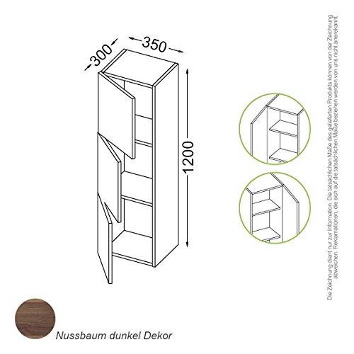 Madrid Schrank 120 cm, Tür Anschlag:rechts, Holzfarbe:C020 Nussbaum dunkel Dekor