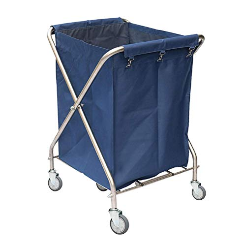 LJWJ Carts,Storage Car Service Car Utility Vehicle Multifunction Portable Trolley Home Foldable Hotel Laundry Hamper Sorter Cart with Wheels, Heavy Duty Commercial Service Rolling Trolley with Remova