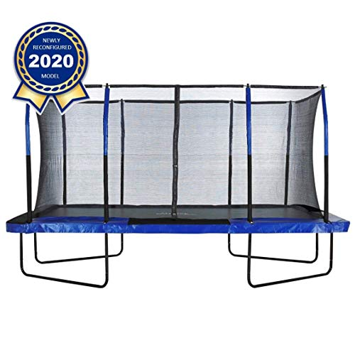 Upper Bounce 8' X 14' Gymnastics Style, Rectangular Trampoline Set with Premium Top-Ring Enclosure System - Blue/Black