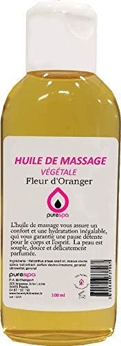 Olio per massaggi, vegetale al 100%, profumato ai fiori d'arancio, 100 ml