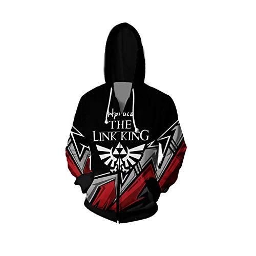 GYMAN Legend Of Zelda Hoodies Windproof Pullover Sweatshirts Casual Jacket 3D Print Coat With Kangaroo Pocket For Christmas Birthday Gift,Black-Large
