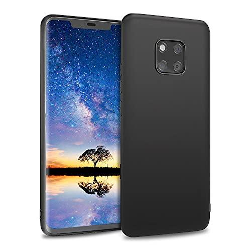 Agedate Hülle Für Huawei Mate 20 Pro Handyhülle Schwarz Matt Silikon Hülle Kompatibel mit Huawei Mate 20 Pro, Ultra Dünn Weich TPU Handyhülle Stoßdämpfend Anti-Fingerabdruck, Black