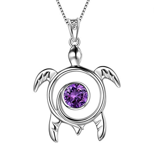 Aurora Tears Turtle Necklace Customized Birthstone 925 Sterling Silver Sea Animal Personalized Turtle Pendant Women Cute Jewelry DP0172 (B.Purple-February-Amethyst)