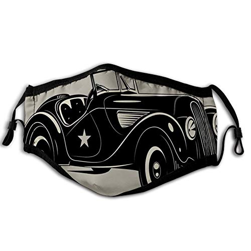 Comfortabele Winddichte Gezicht cover, Klassieke Italiaanse Model Nostalgische Auto 50s Star Sign Pop Art Hobby Oud-Mode Beeld, Gedrukt Gezichtsdecoraties voor man en vrouw