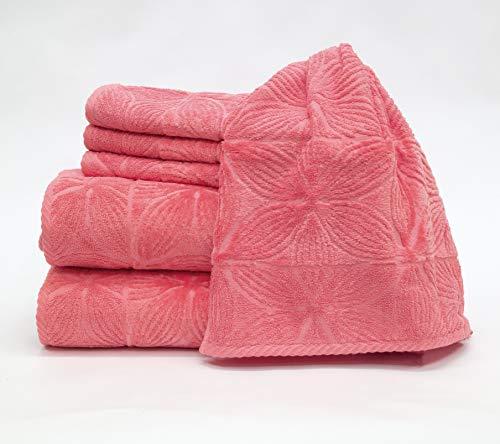 my cocooning Juego de toallas Agatha de 6 piezas, color rosa, suaves y absorbentes, 100% algodón, 2 toallas de ducha grandes (70 x 140 cm) y 4 toallas pequeñas (50 x 80 cm), lavables a máquina