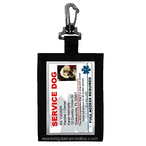 ID Holder - Clip On to Anything - Perfect for Service Dog Identification Card Clear on Both Sides