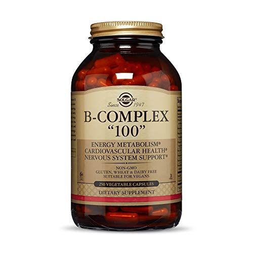 Solgar B-Complex '100', 250 Vegetable Capsules - Heart Health - Nervous System Support - Supports Energy Metabolism - Non-GMO, Vegan, Gluten Free, Dairy Free, Kosher, Halal - 250 Servings
