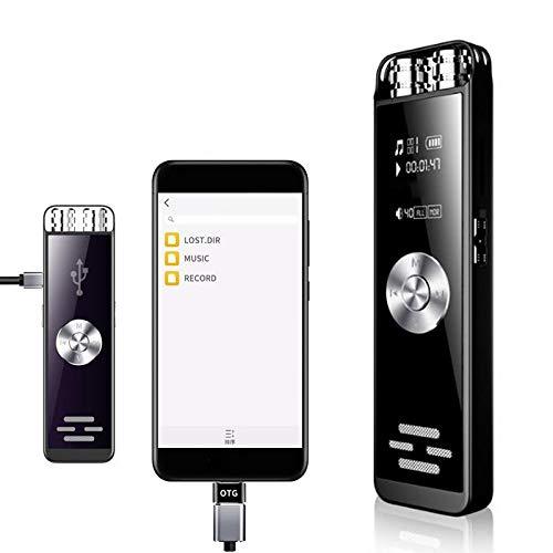 Grabadora de Voz Digital Micrófono Dual Dictáfono Grabadora activada por Sonido Recargable portátil Grabadora de Audio de Alta definición 16Gb B