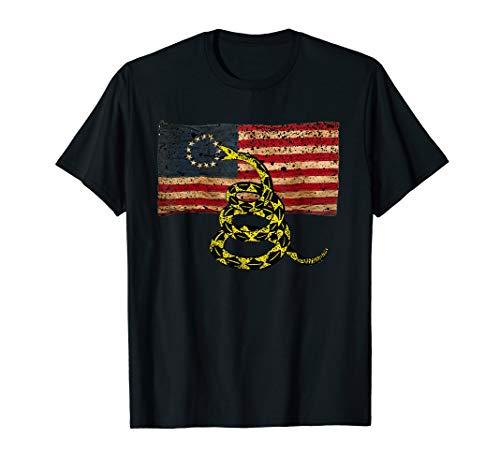 Gadsden Snake Flag Betsy Ross Flag US American Flag Gift T-Shirt