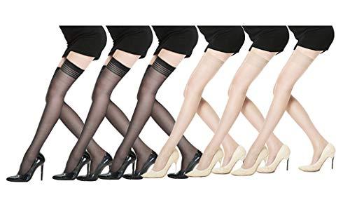 Yulaixuan Mujeres 6 pares Medias de retención Cuatro rayas Calcetines hasta la rodilla transparentes Top de encaje Muslo alto