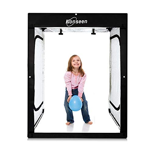 Konseen 47x20x55 inch Large Photo Studio Light Box Dimmable 576 PCS LED Light Professional Photography Shooting Tent Box with 3 Colors PVC Backdrops and Carrying Bag,UK Plug