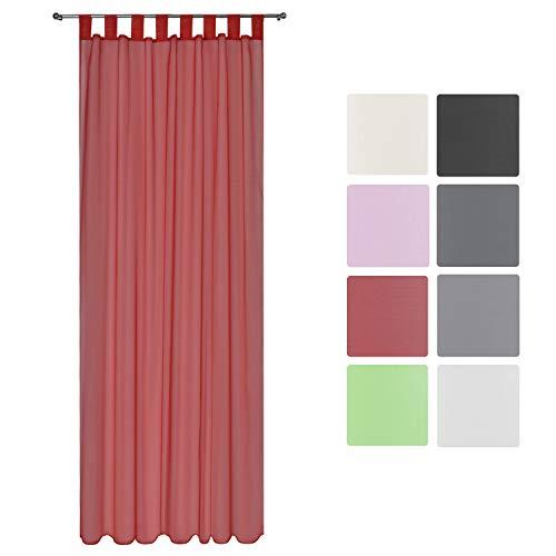 Beautissu Transparenter Schlaufen-Vorhang Amelie VS - 140x245 cm Schlaufenschal Transparent Deko Gardine Rot & weitere Farben