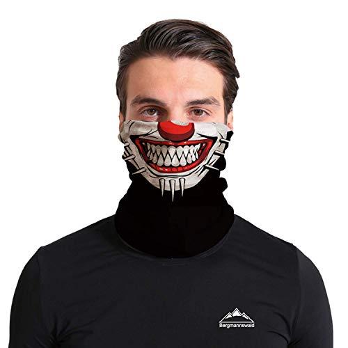 Bergmannswald® umgenähtes Multifunktionstuch - atmungsaktiv und flexibel - Ideal zum Sport, Reisen oder Motorradfahren (Der verrückte Clown, 1er Pack)
