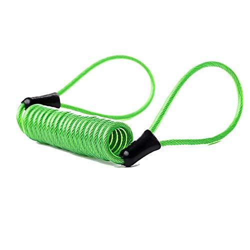 Z.L.F.J.P Accesorios para Bicicletas Cuerda de Seguridad for Moto Vespa de la Bici de Equipaje Alarma de Bloqueo de Cable de Bicicletas (Color : Verde, Size : Gratis)