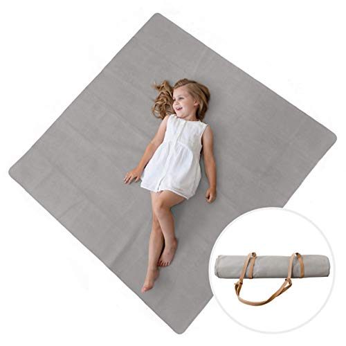 Sonder Leather Multipurpose Mat - Kids Luxurious Picnic Mat - Waterproof and Sand Proof Beach Blanket - Indoor and Outdoor Play Mats - High Chair Mat - Includes Carrying Strap for Easy Travel… (Gray)