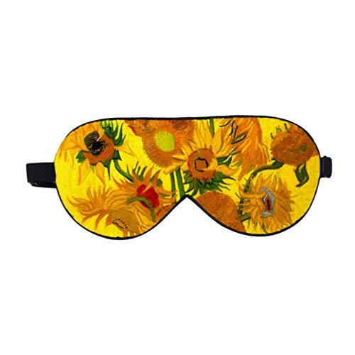 Healifty Máscara de Seda para Los Ojos con Los Ojos Vendados Cubierta de Seda para Dormir Antiparras Ligeras para Hombres Y Mujeres (Patrón de Girasol)