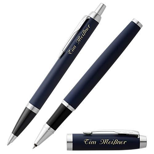 PARKER Schreibset IM Matte Blue C.C. mit Gravur Tintenroller und Kugelschreiber mit Geschenk-Etui
