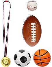 Tomaibaby 5 Piezas Mini Bolas Deportivas Fiesta Favorece Fútbol para Niños Baloncesto Fútbol Rugby Y Pelota de Tenis Jardín Bebé Pelota Combinación Juguetes con Medalla de Oro