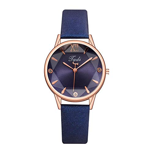 JZDH Women Watches Elegant Quartz Women's watches Fashion Casual Leather Strap watch for women dress clock ladies wristwatch Ladies Girls Casual Decorative Watches (Color : Blue)