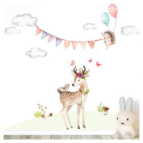 Little Deco Wandaufkleber REH und Igel mit Luftballons I M - 84 x 86 cm (BxH) I Wolken Girlande Wandtattoo Mädchen Kinderzimmer Aufkleber Sticker Babyzimmer DL466