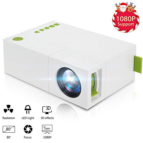 MUXAN Mini projector, draagbare 1080P LED mini beamer home theater buitenshuis met PC Laptop USB/SD/AV/HDMI-ingang, zakprojector voor video, tv, film, party, game home entertainment, picoprojector