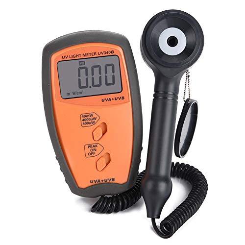 Luxmetro Digitale, Akozon UV340B luxmetro Professionale Illuminometro Mini Misuratore di Raggi UVA/UVB - Digitale 3 3/4 Cifre 3999-400μW / cm², 4000μW / cm², 40mW / cm²
