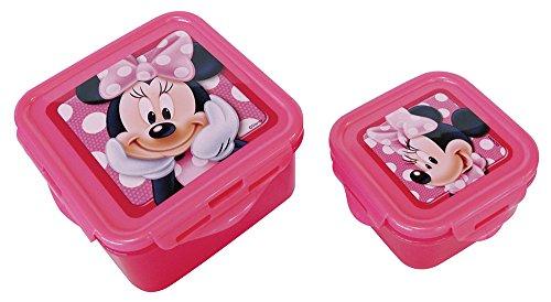 FUN HOUSE 005054 Lot de 2 boîtes carrées pour Enfant, Polyéthylène, Rose, 13 x 13 x 7 cm
