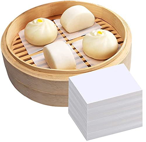 Wax Paper, Air Fryer Liners 500PCS Bamboo Steamer Paper Square Parchment Paper Sheets for Baking Paper Non-Stick Steamer Mat for Cooking/Baking/Air Fryers/Steamer (2.8x2.8in / 7x7cm)
